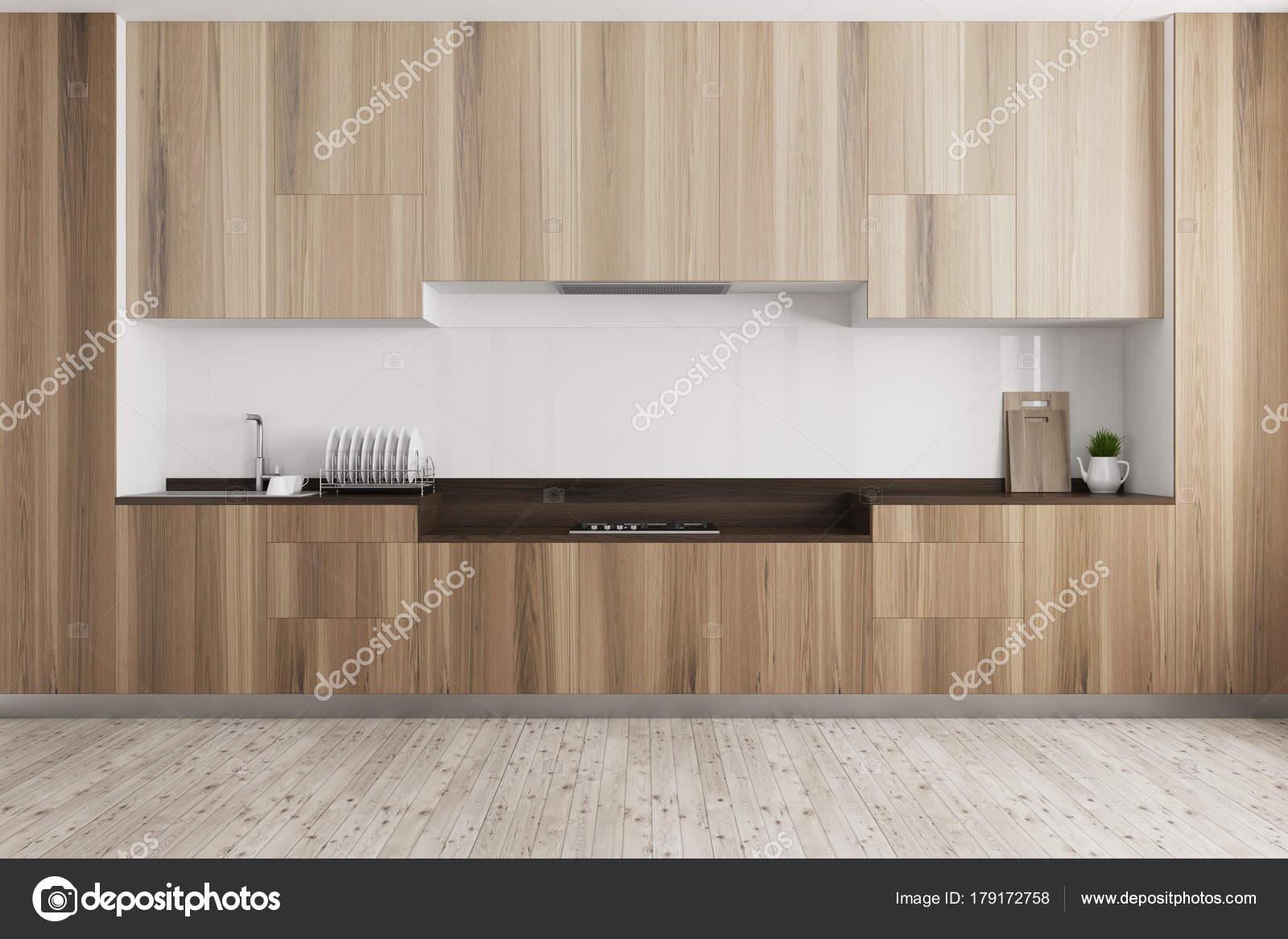 Weiße Küche, dunklen Holz Arbeitsplatte — Stockfoto ...