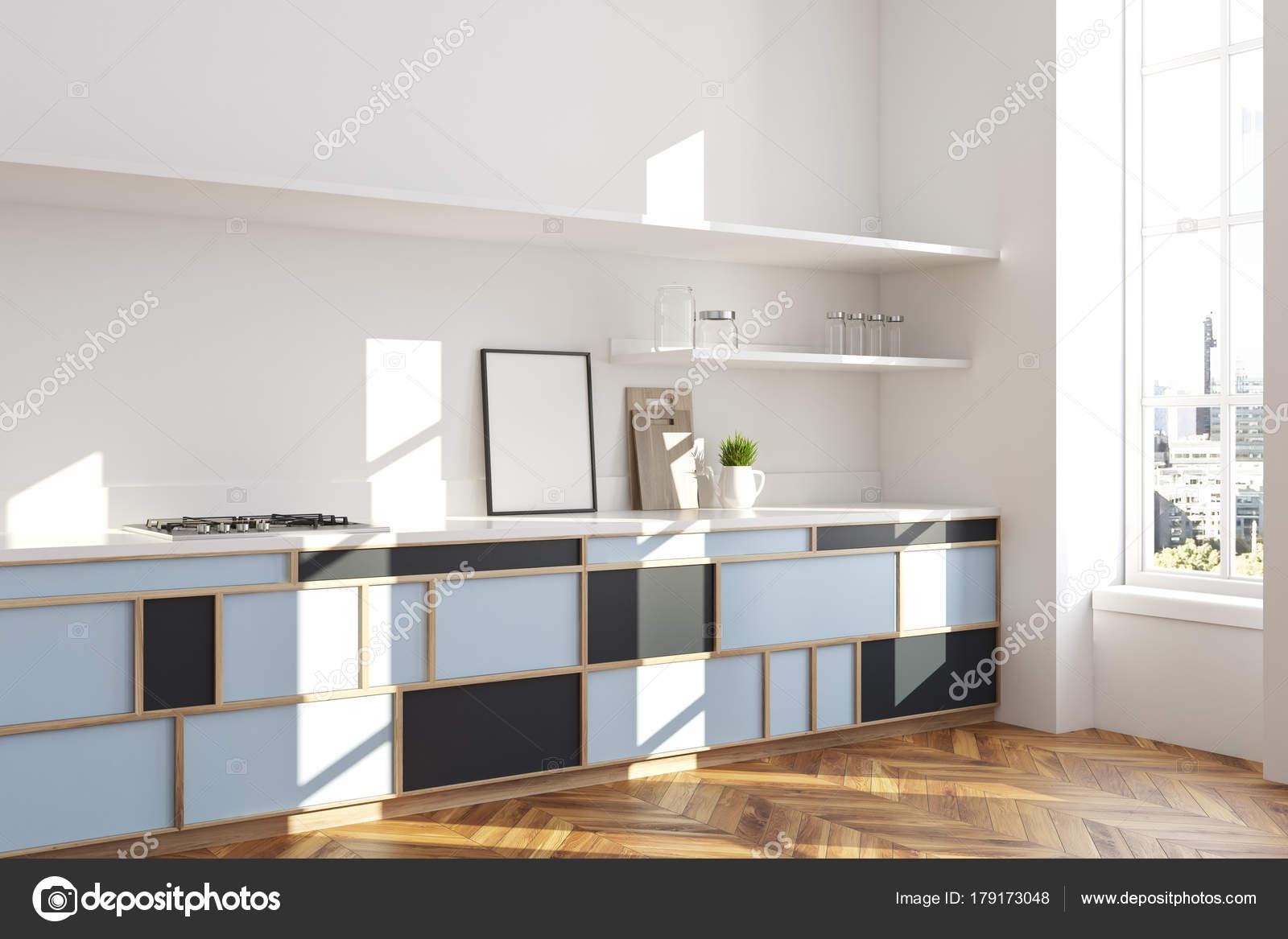 Weisse Blaue Kuchenarbeitsplatte Plakat Seite Stockfoto