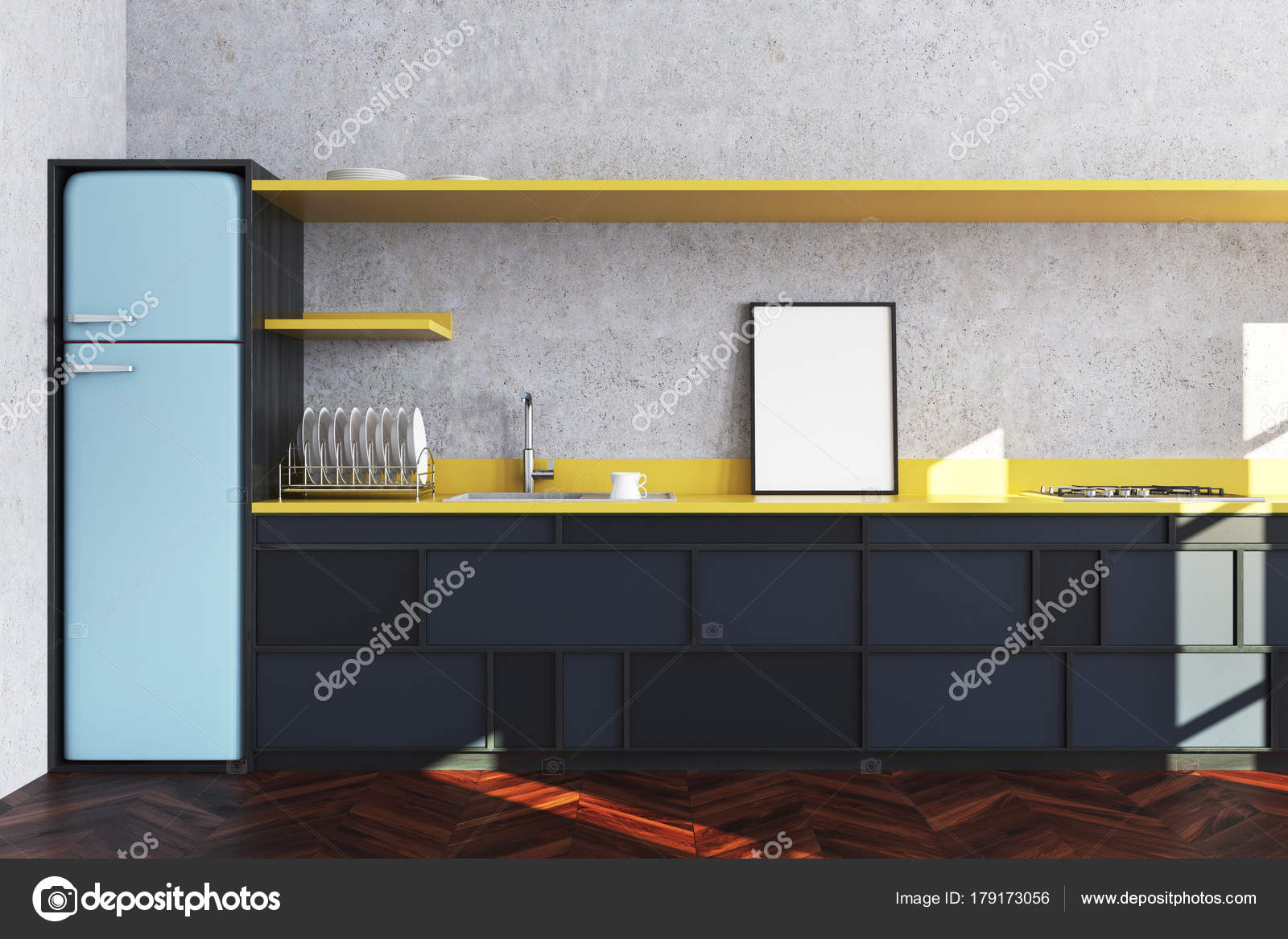 Konkrete Küche, schwarze Arbeitsplatte, poster — Stockfoto ...