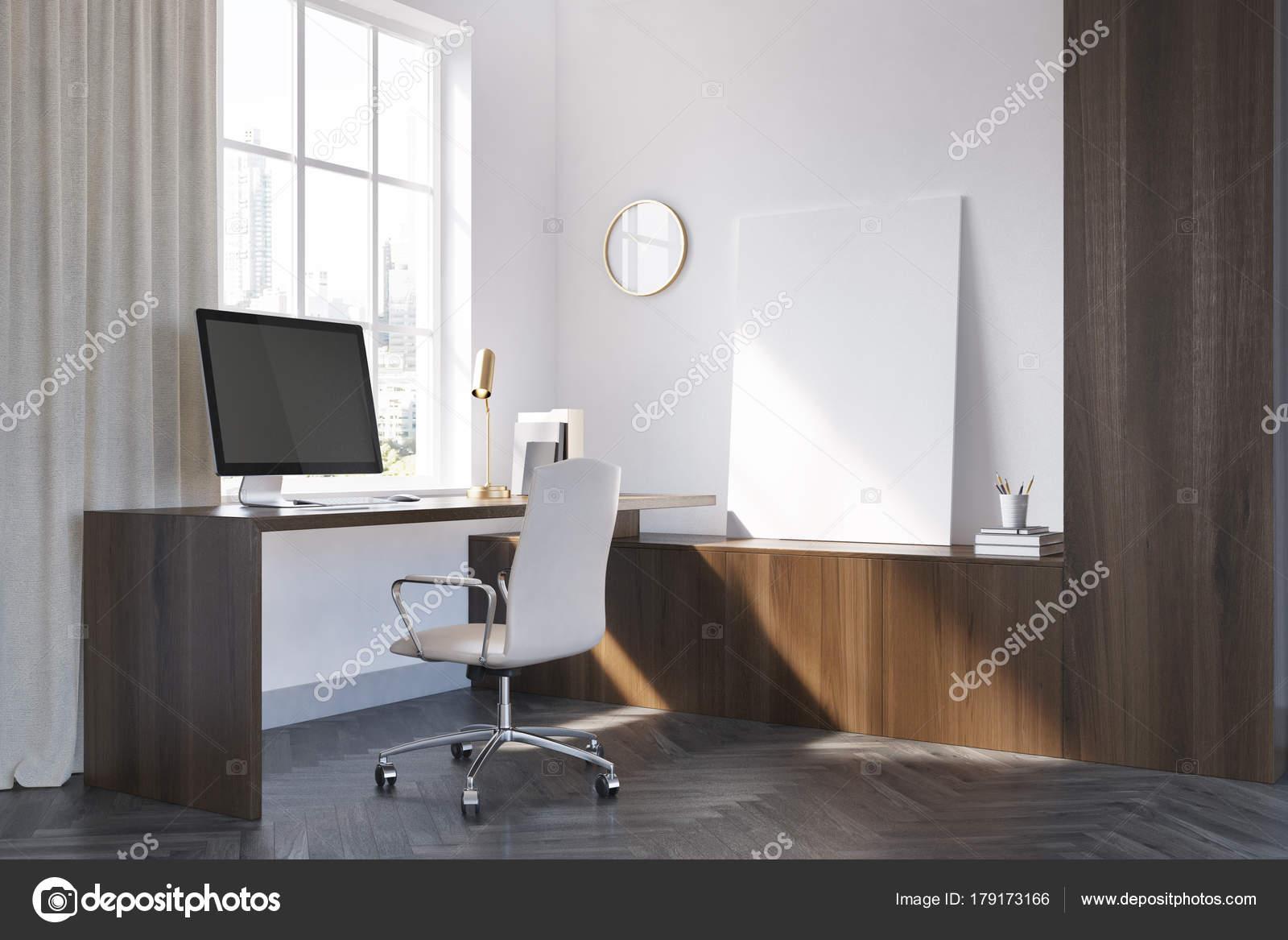 Coin de bureau en bois blanc et noir affiche u photographie