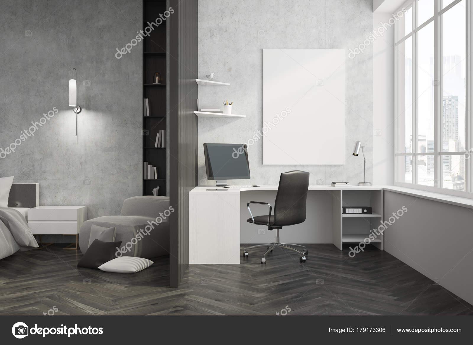 Beton In Interieur : Beton und schwarzem heimbüro interieur plakat u stockfoto