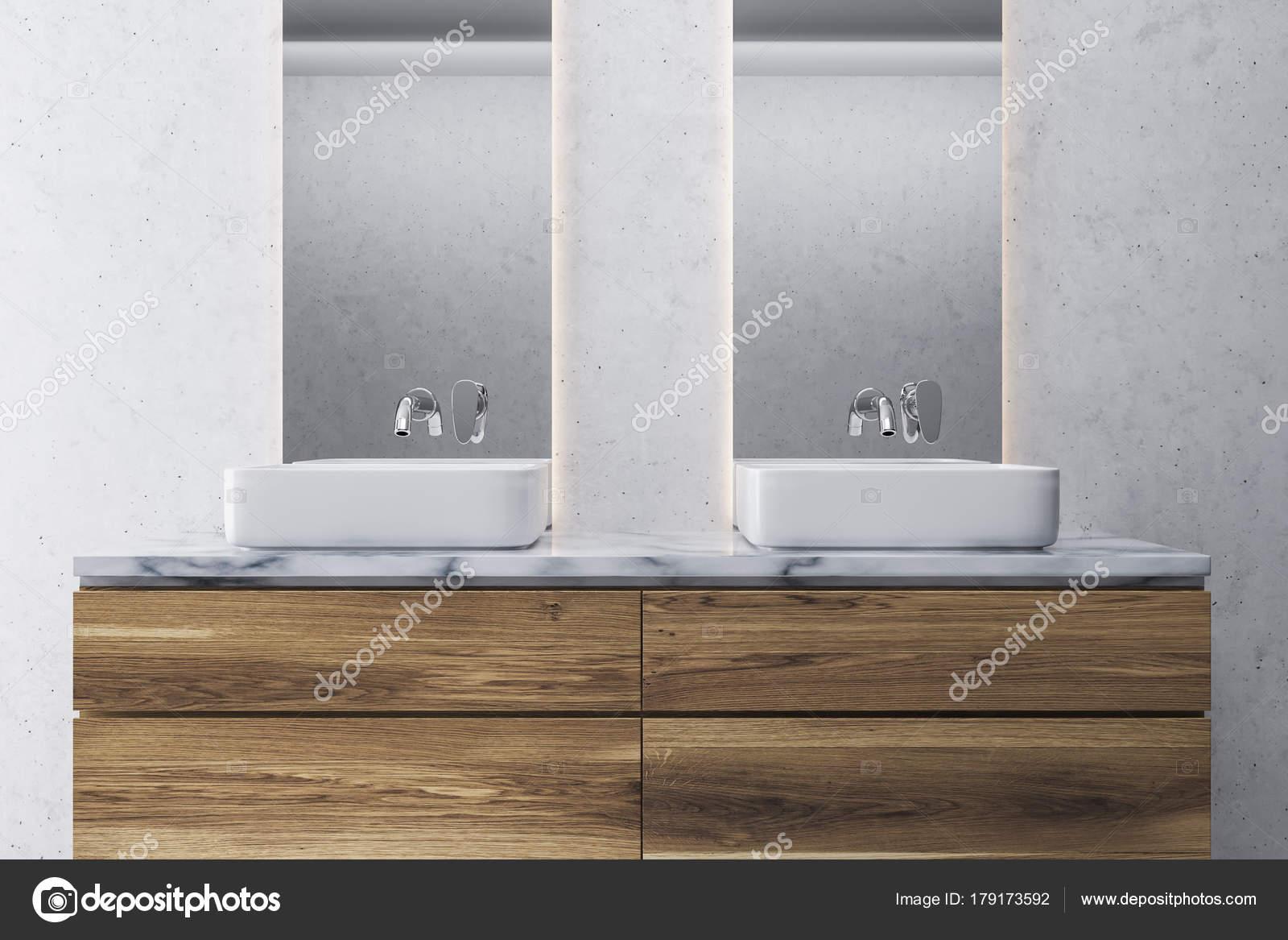 Bagno bianco e legno, doppio lavello — Foto Stock © denisismagilov ...