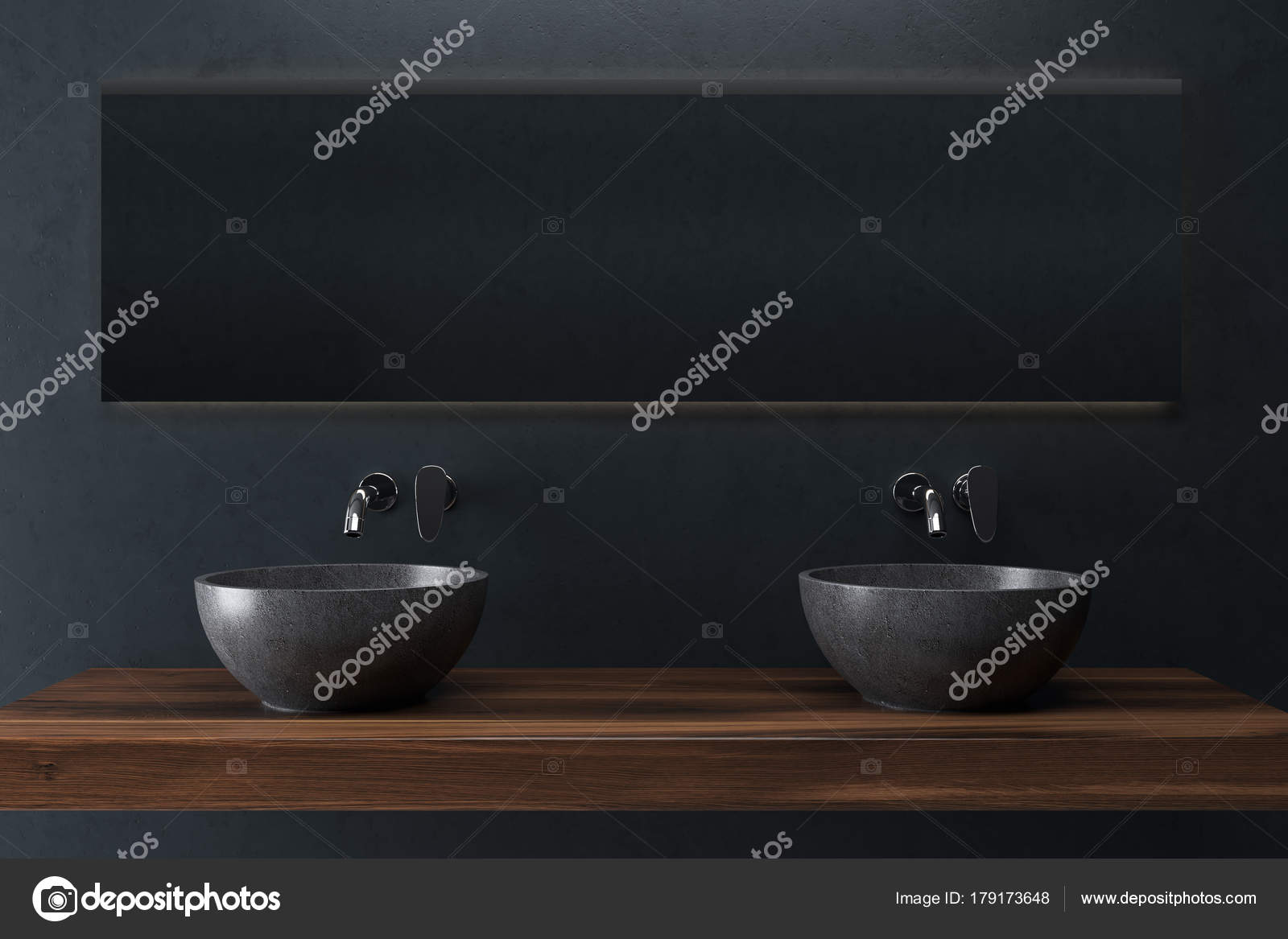 Zwarte badkamer dubbele wastafel u2014 stockfoto © denisismagilov