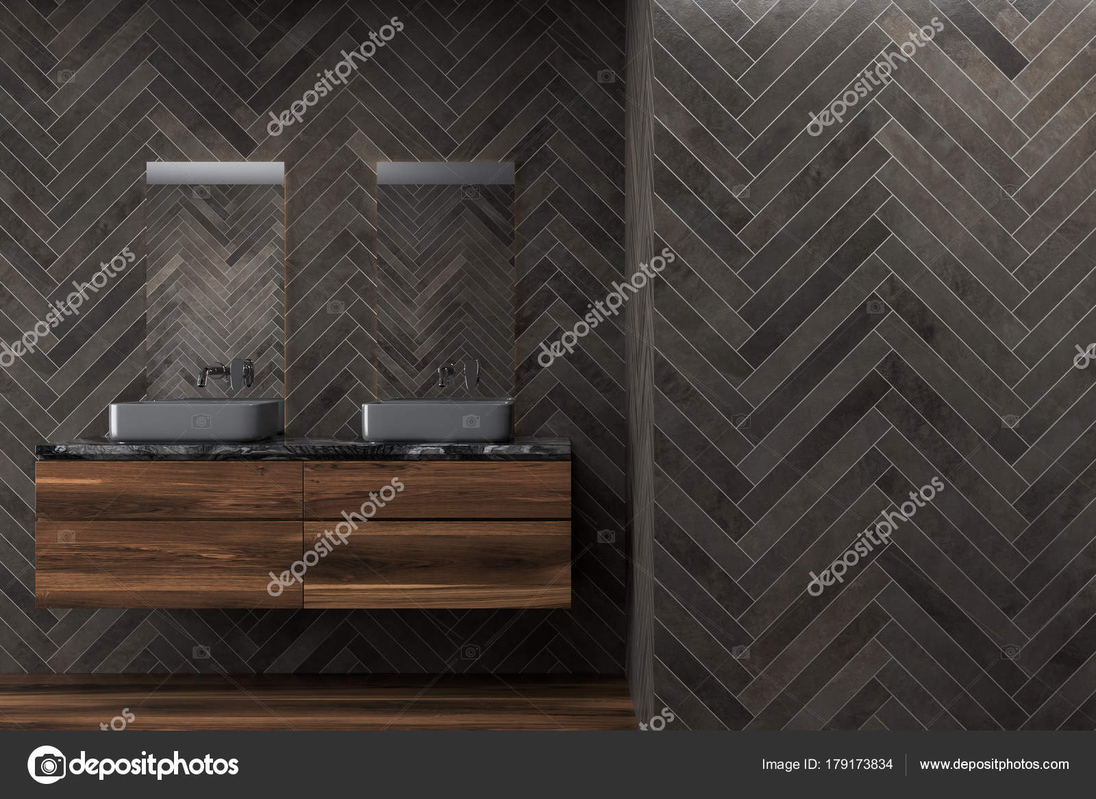 Salle De Bain Bois Noir ~ salle de bain en bois noir double vier photographie