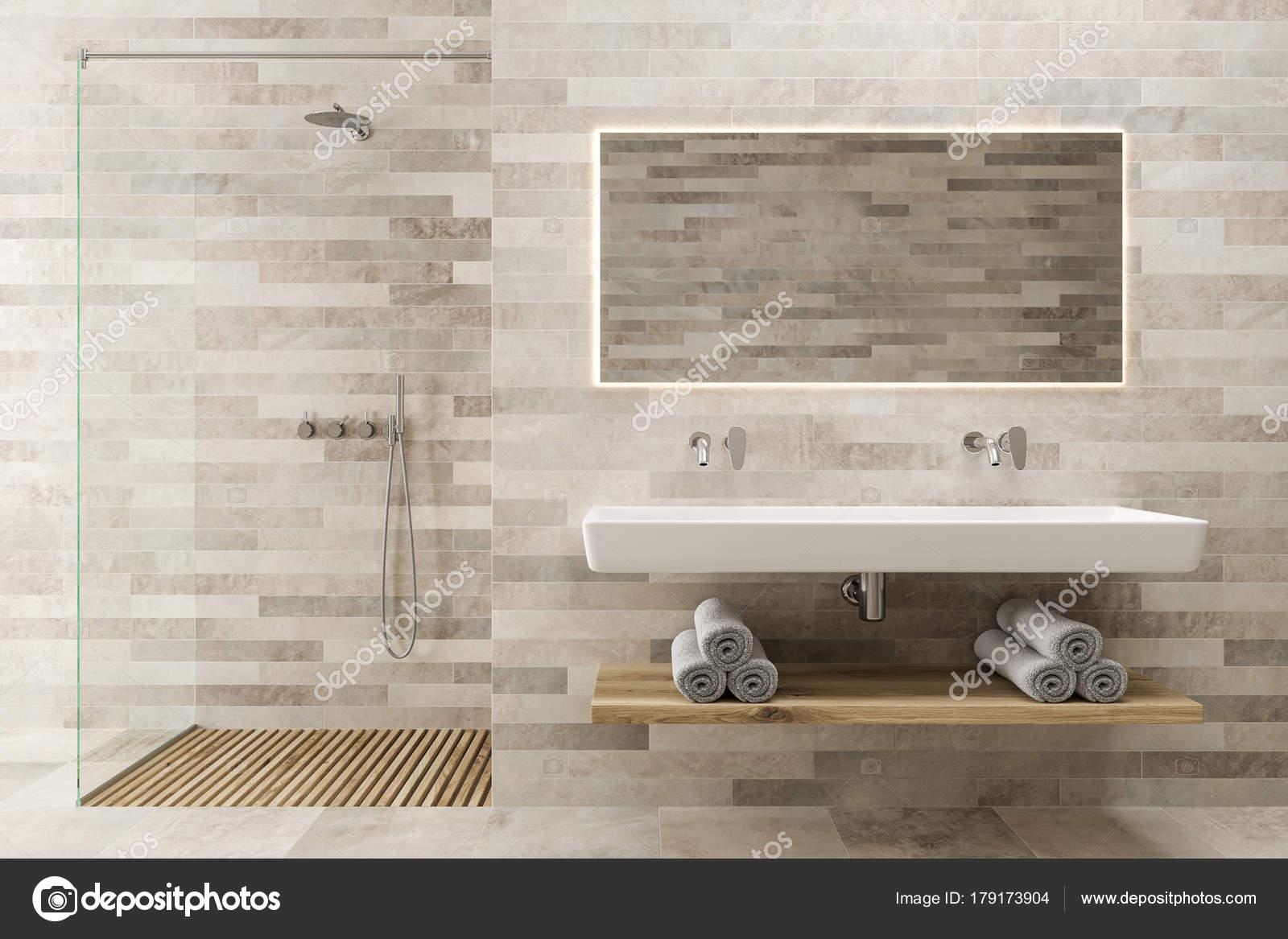 Blanco madera cuarto de baño, doble lavabo, ducha — Fotos de Stock ...