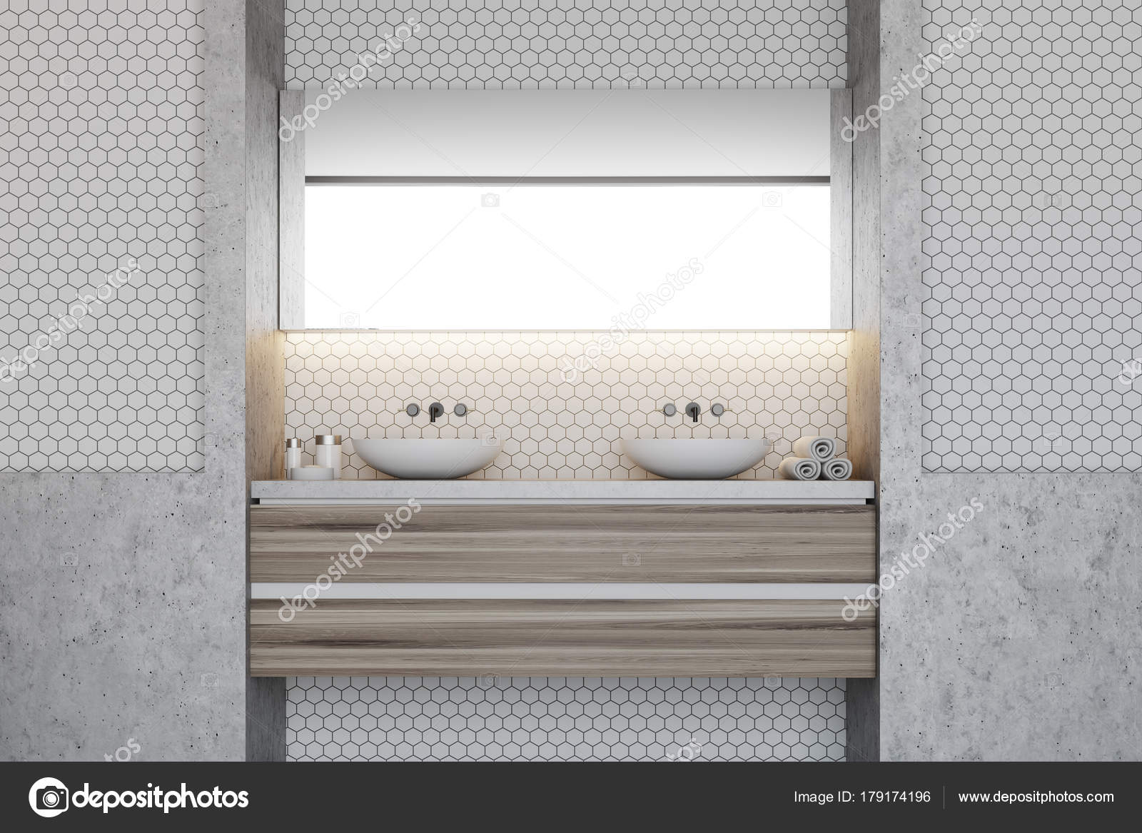 Hexagon tile bathroom, double sink — Stock Photo © denisismagilov ...