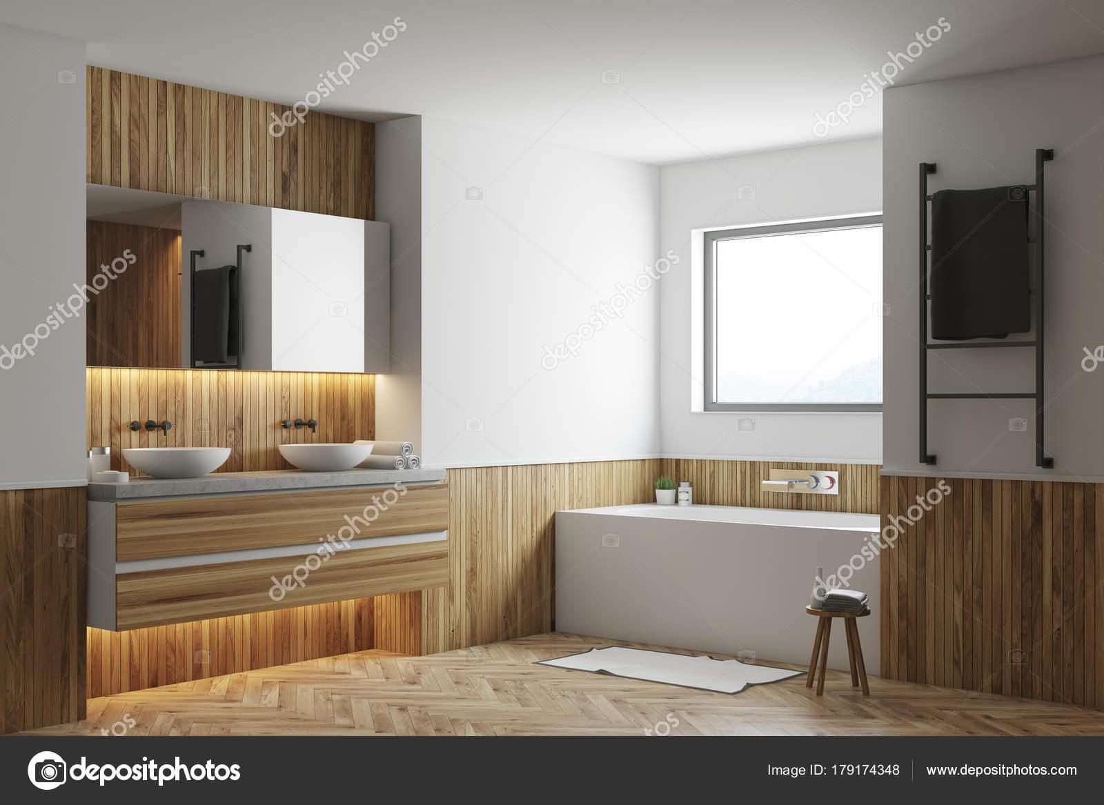 Weiß Und Holz Bad Ecke, Weiße Wanne, Waschbecken U2014 Stockfoto