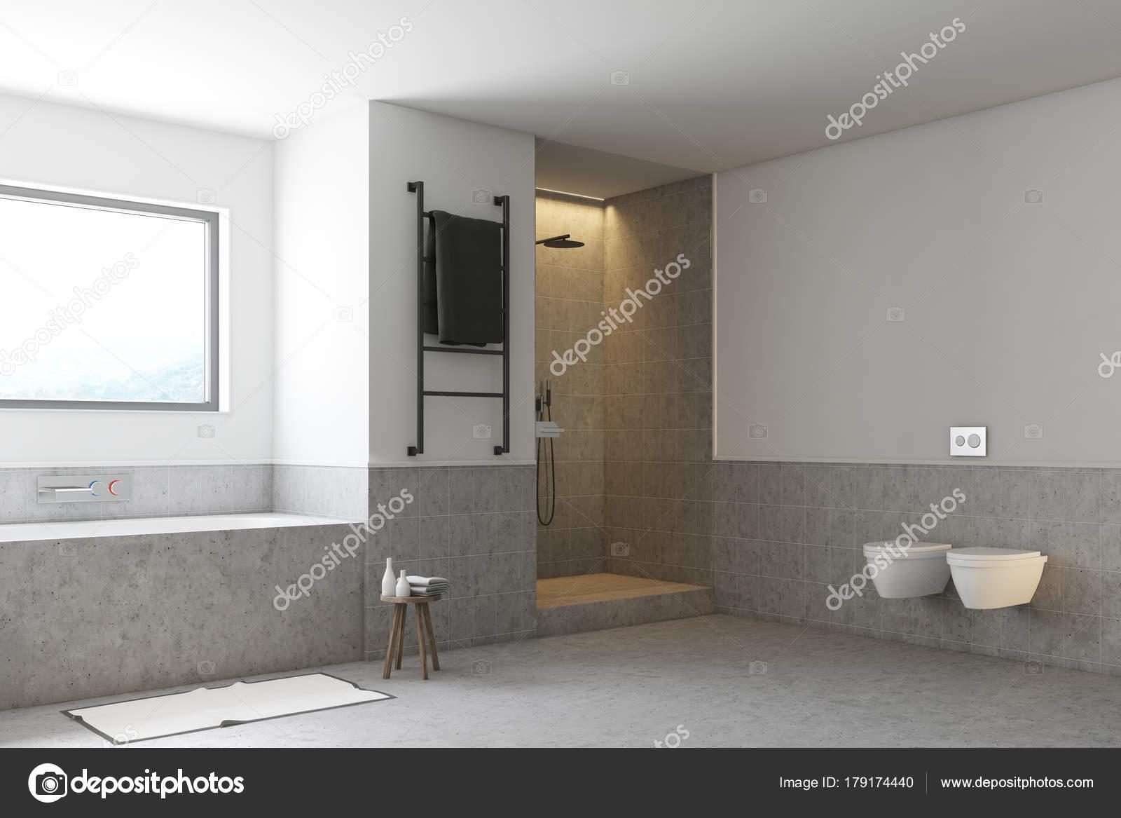 Gray bathroom, toilets and shower — Stock Photo © denisismagilov ...