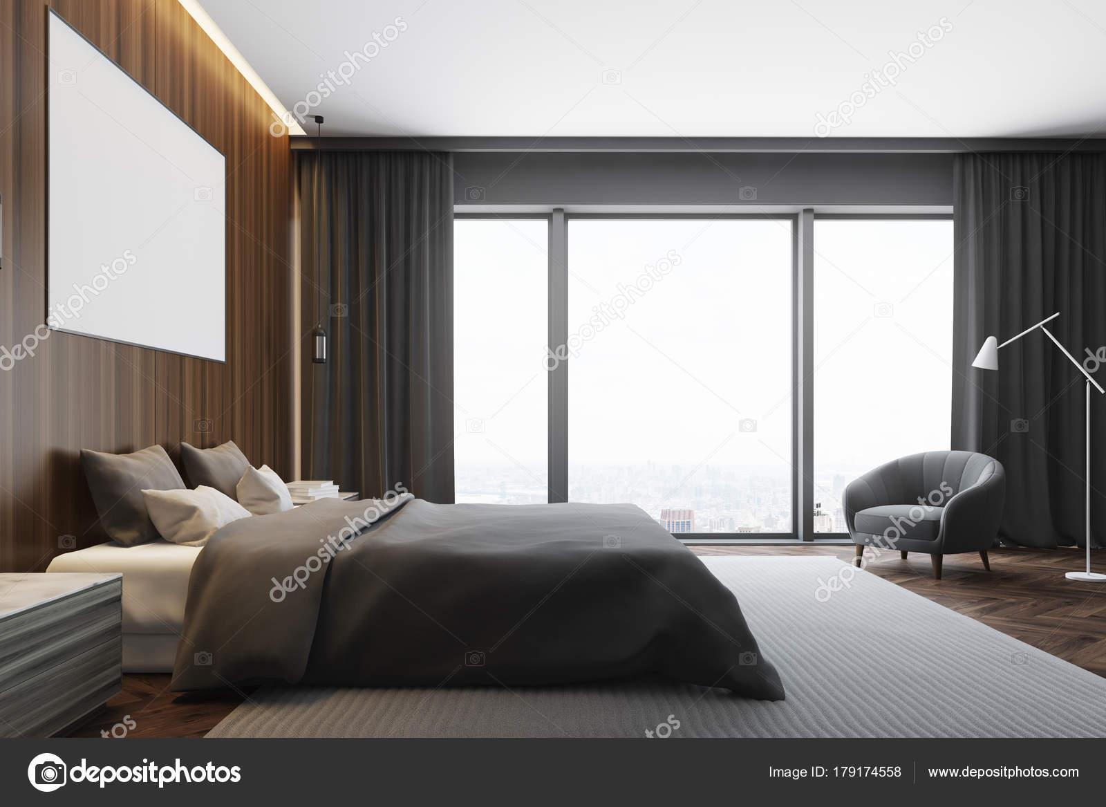 Dunkles Holz Schlafzimmer, Plakat Innenseite — Stockfoto ...
