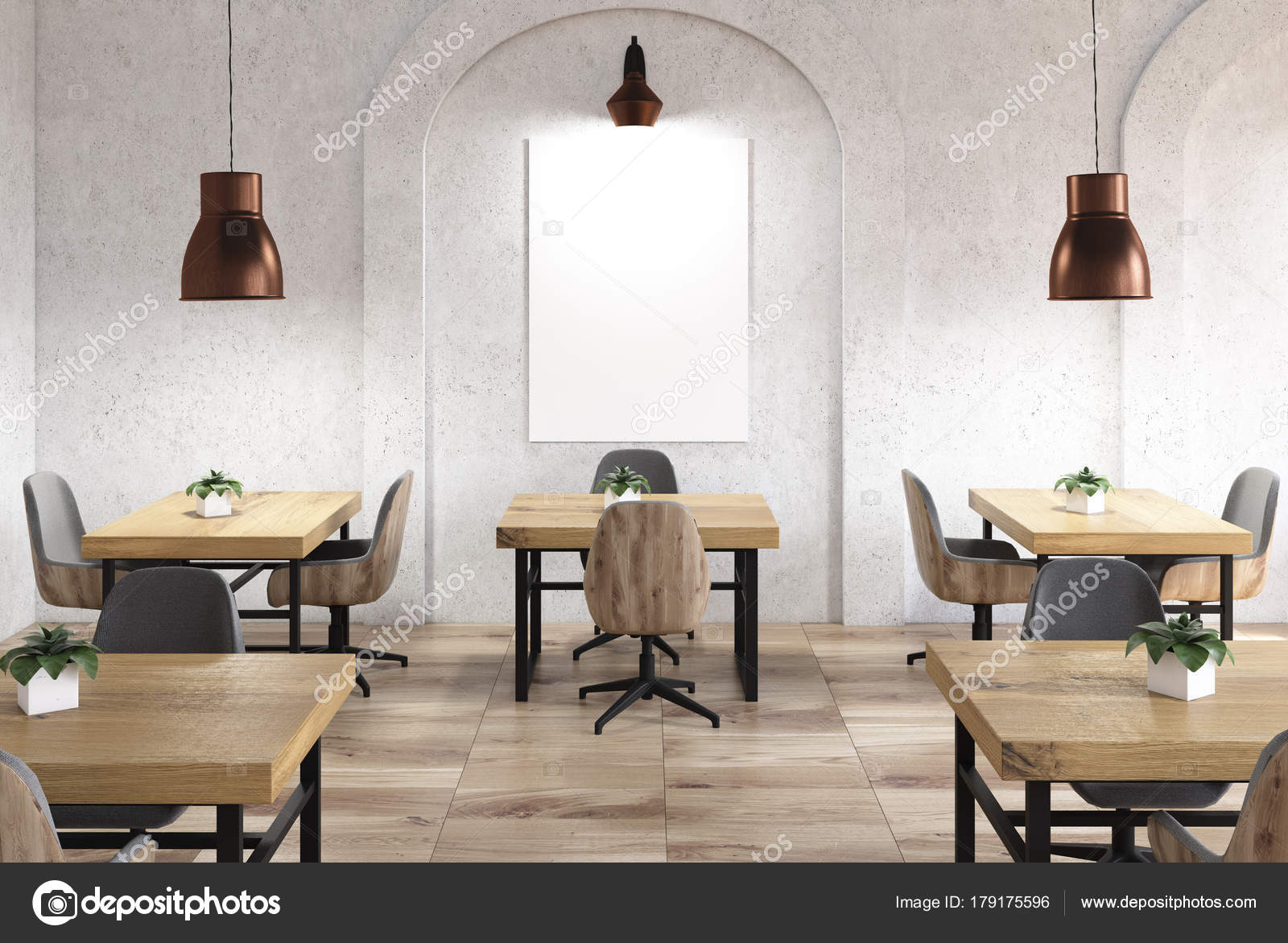 concrete cafe interior with a wooden floor tables and chairs arch like windows a poster 3d rendering mock up photo by denisismagilov - Concrete Cafe Interior
