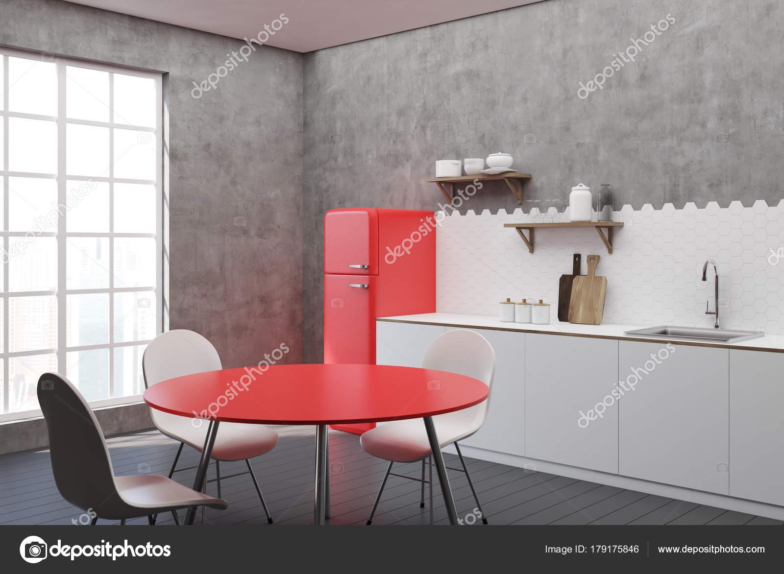 Mesa de cocina blanca y concreto, rojo — Foto de stock ...