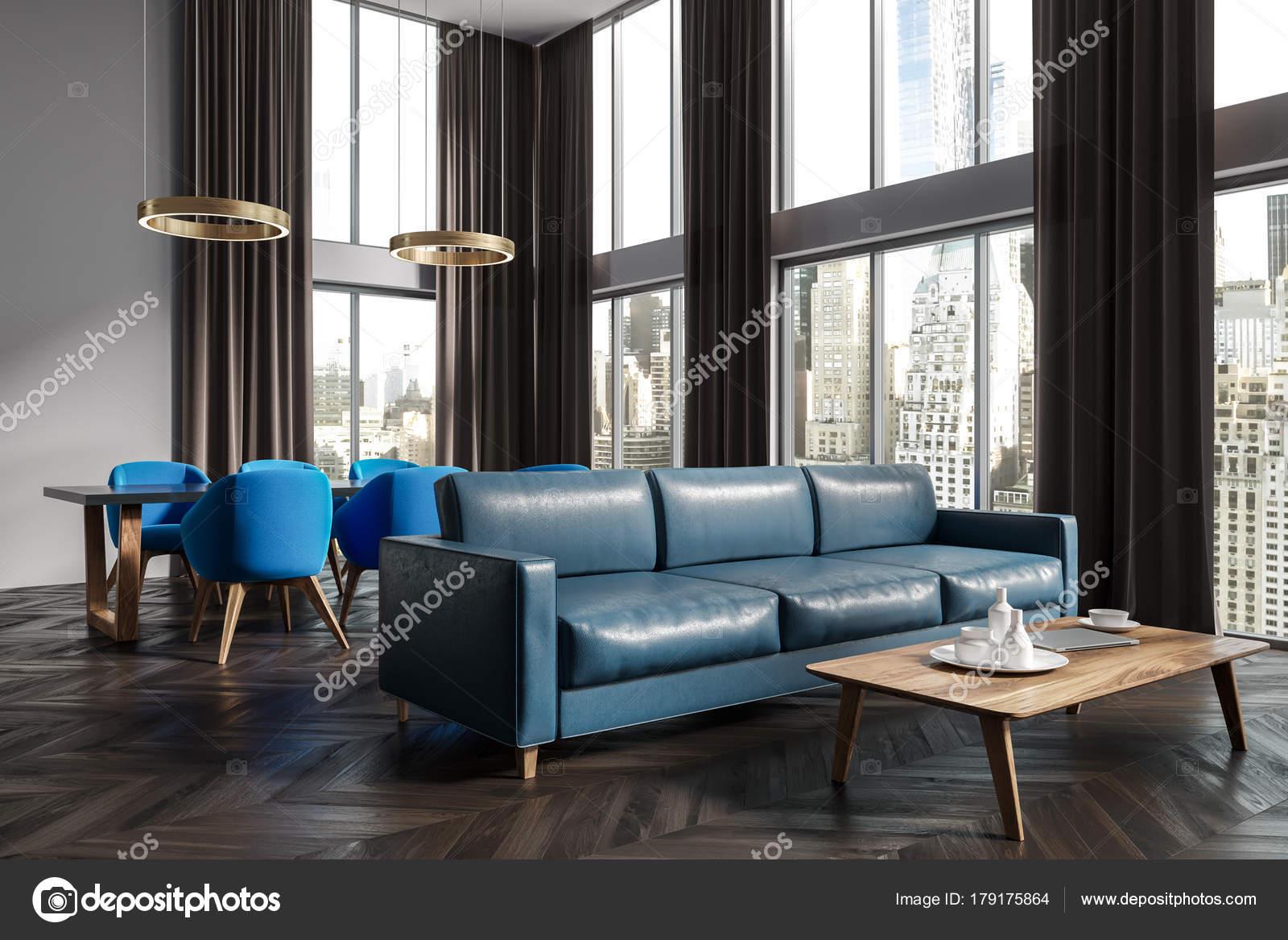 Panoramica sala soggiorno e sala da pranzo angolo blu — Foto Stock ...