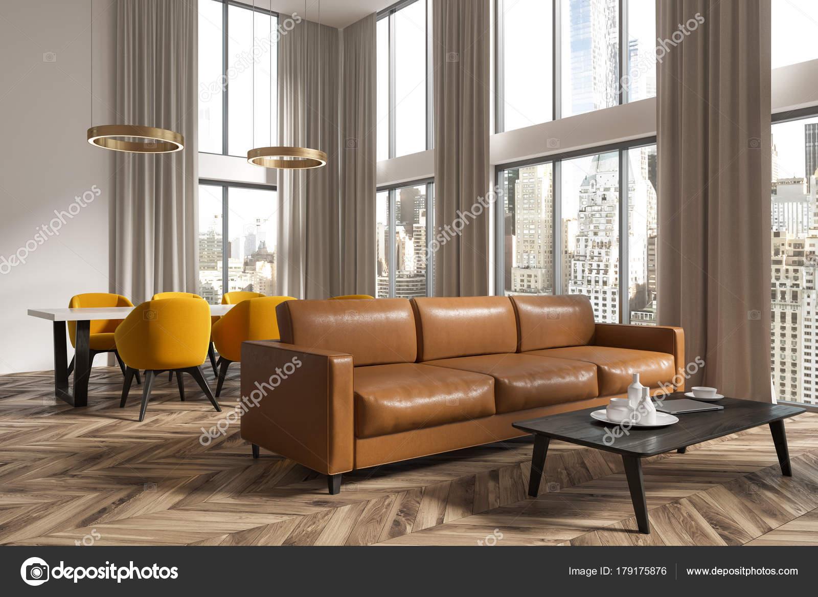 Panoramisch woonkamer en eetkamer hoek bruin — Stockfoto ...