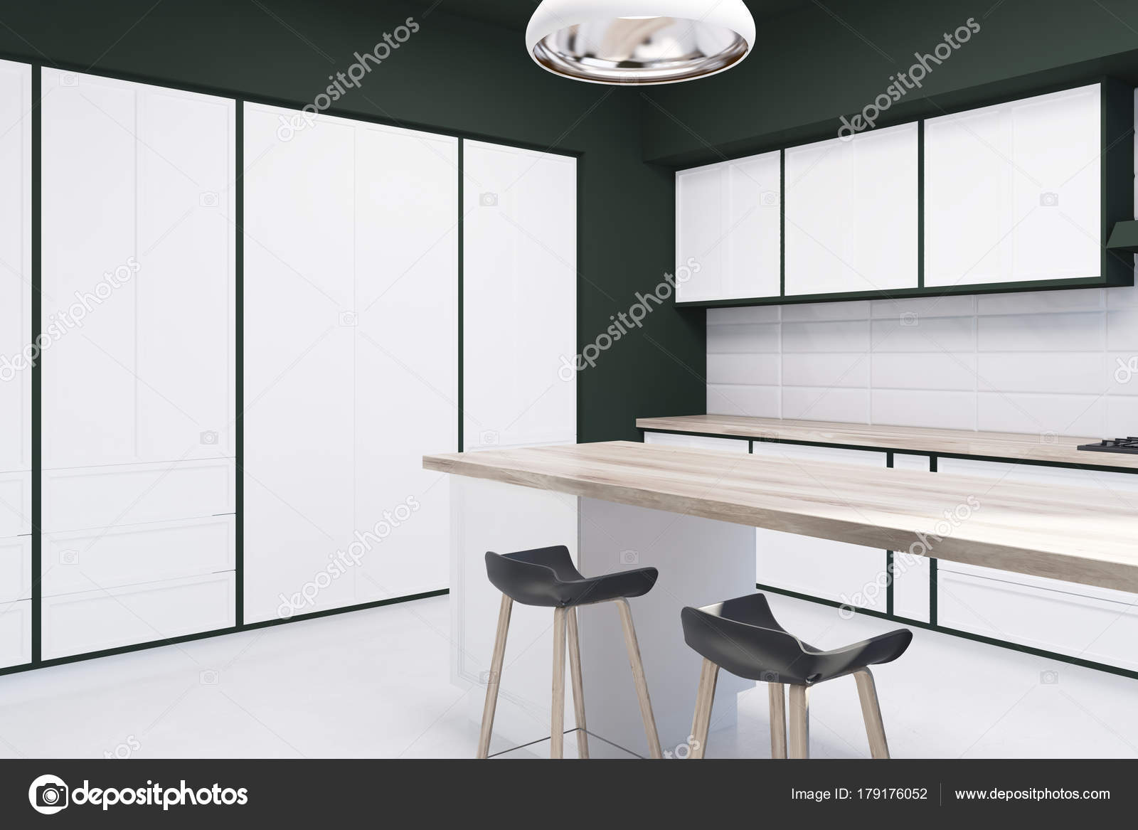 Witte Tegels Keuken : Witte tegel en zwarte keuken bar kant u stockfoto denisismagilov