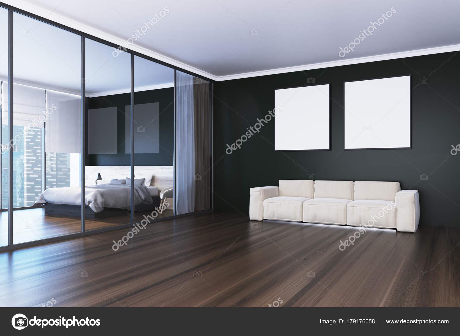 Sofa en vierkante posters woonkamer kant — Stockfoto ...