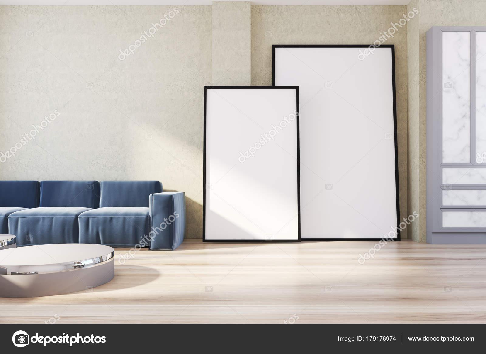 Gele woonkamer hoek, sofa en posters — Stockfoto © denisismagilov ...
