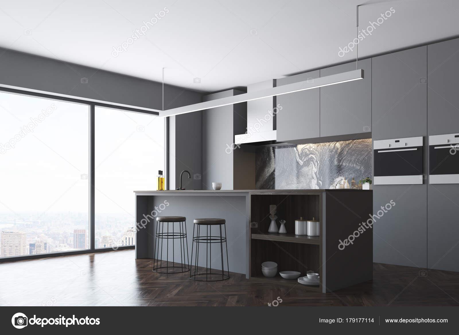 Dunklen grauen Fenster, Küche und Bar-Ecke — Stockfoto ...