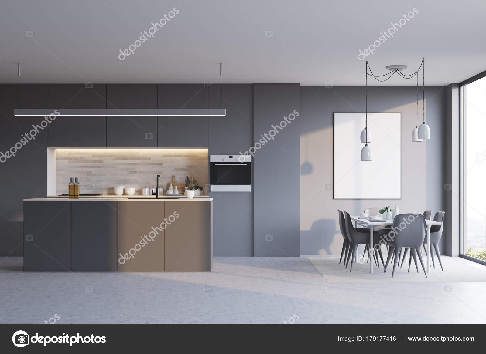 Graue Küche mit Bar, Plakat — Stockfoto © denisismagilov #179177416