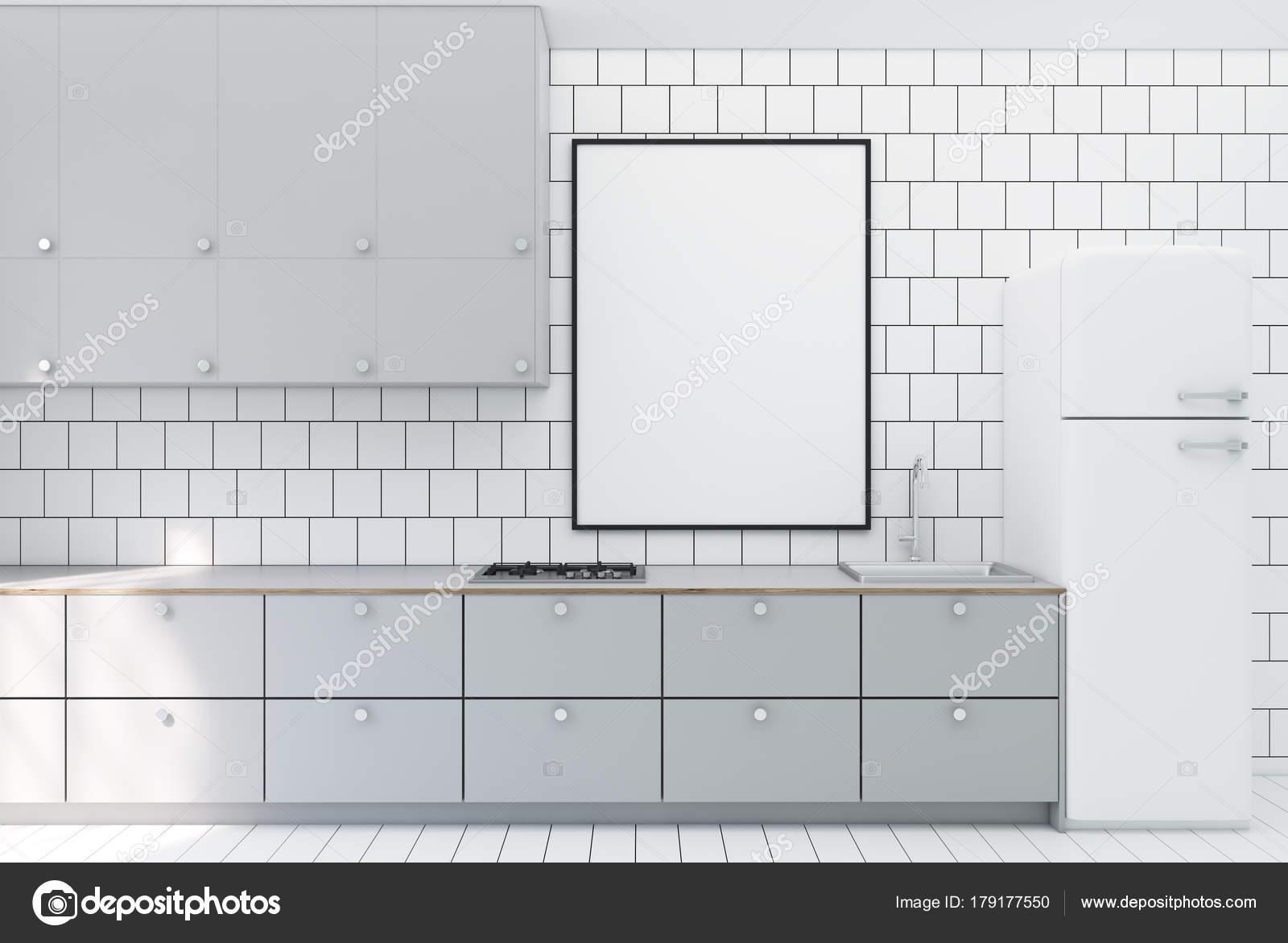 Cucina con piastrelle bianche poster foto stock denisismagilov 179177550 - Piastrelle bianche cucina ...