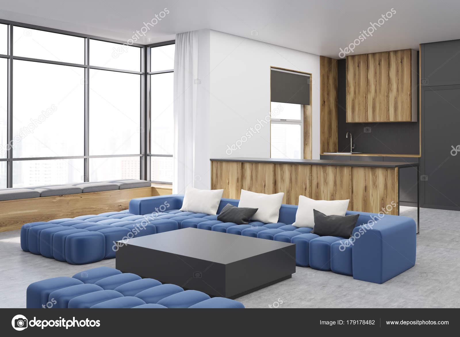 Zwart en houten woonkamer hoek vierkante tafel — Stockfoto ...