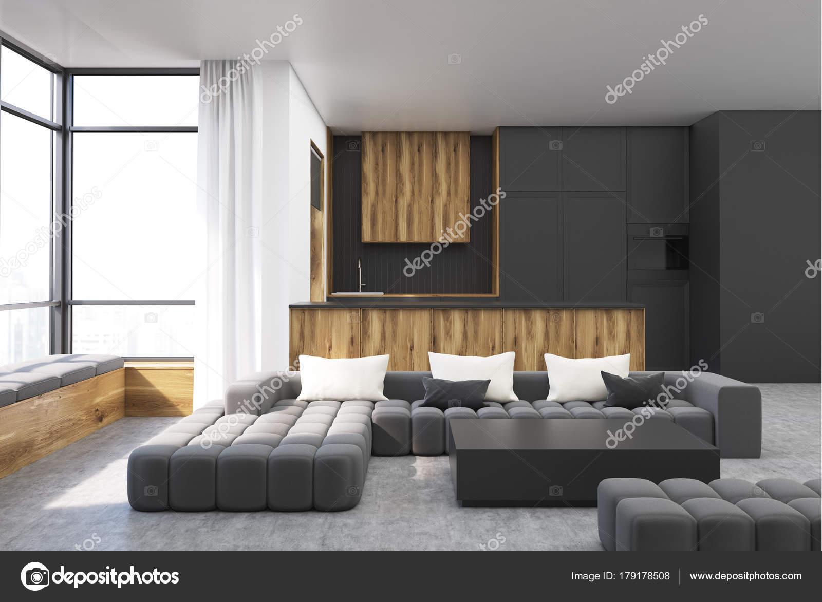 Zwart en houten woonkamer vierkante tafel u stockfoto