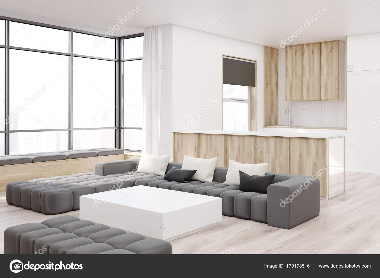 Mesa cuadrada de salon blanco y madera esquina — Foto de stock ...
