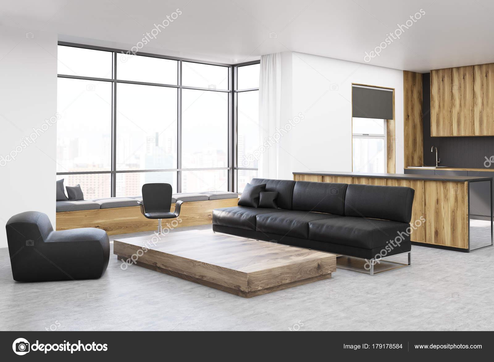 Wit woonkamer hoek vierkante tafel en slaapbank — Stockfoto ...