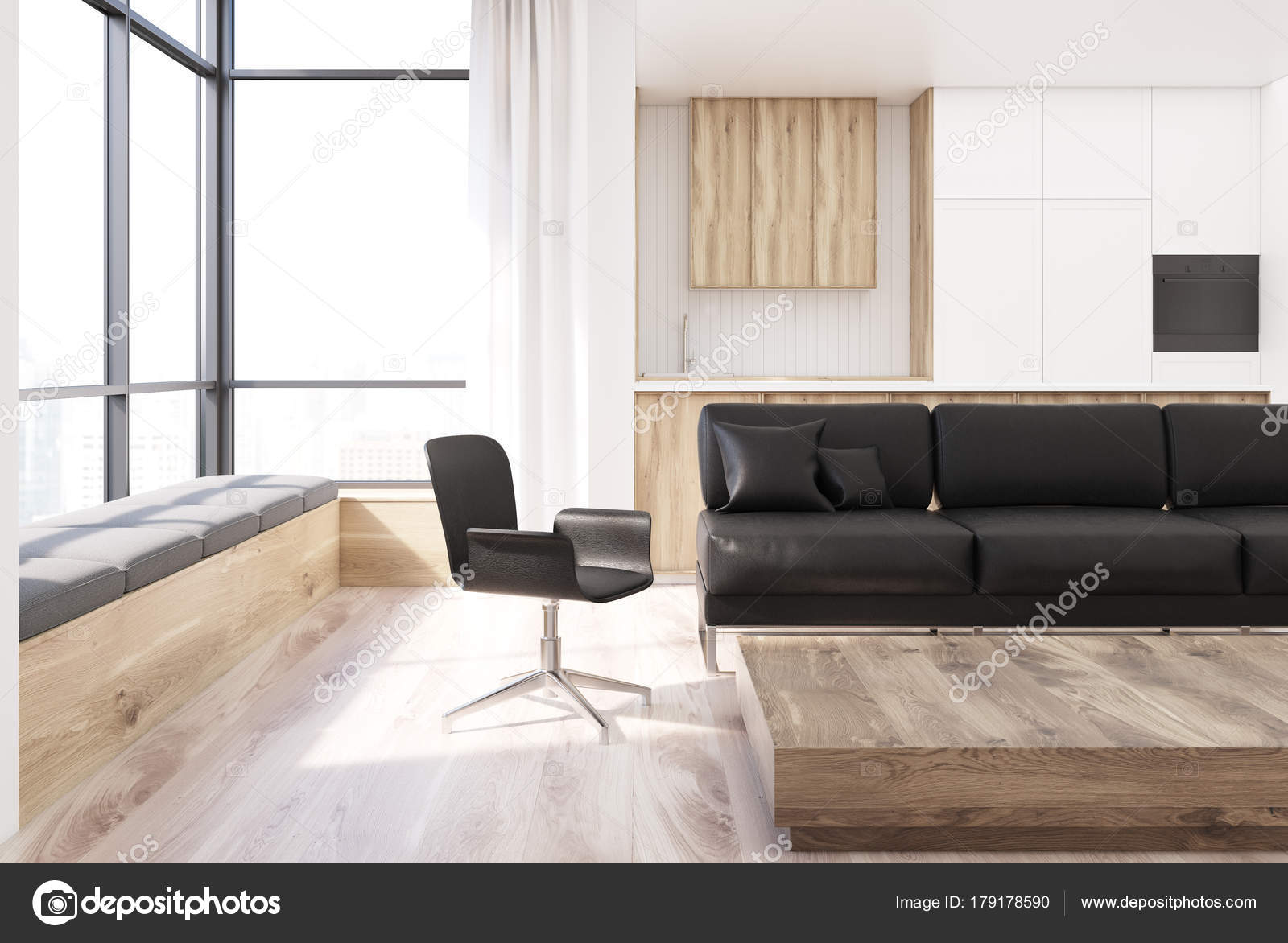 Wit woonkamer, vierkante tafel, stoel — Stockfoto © denisismagilov ...