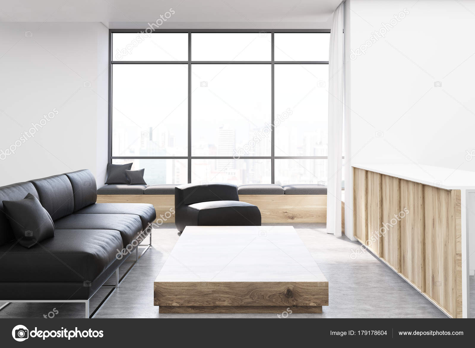 Wit woonkamer, vierkante tafel, stoel, Bank — Stockfoto ...