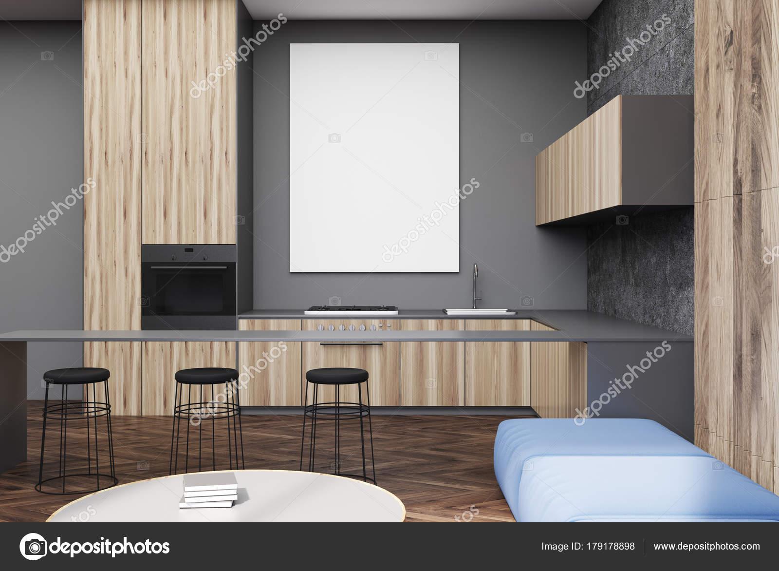 Salone grigio e in legno poster sgabelli da bar u2014 foto stock