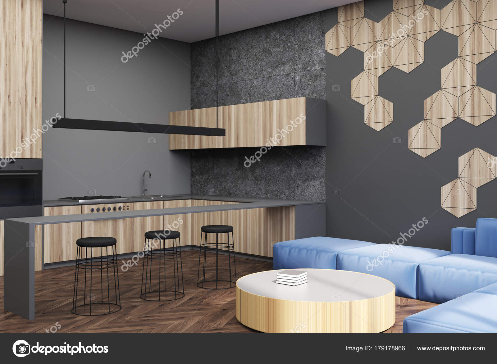 Zeshoek patroon woonkamer en bar hoek — Stockfoto © denisismagilov ...