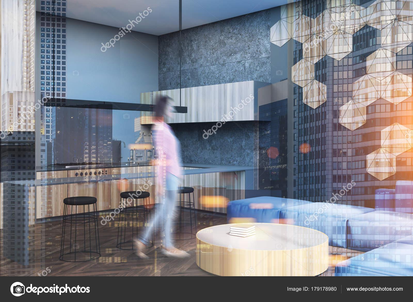 Esagono modello soggiorno e angolo bar sfocatura — Foto Stock ...
