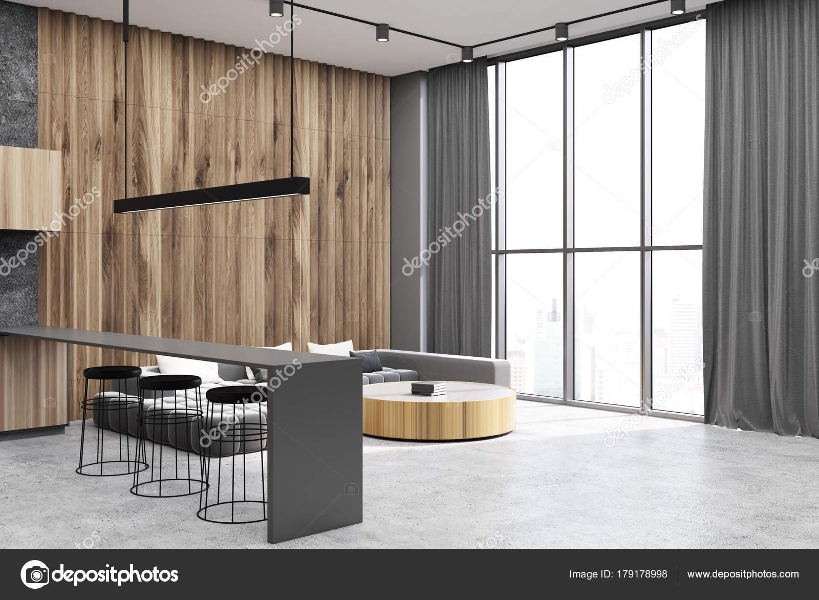 Grau Und Holzerne Wohnzimmer Betonboden Seite Stockfoto