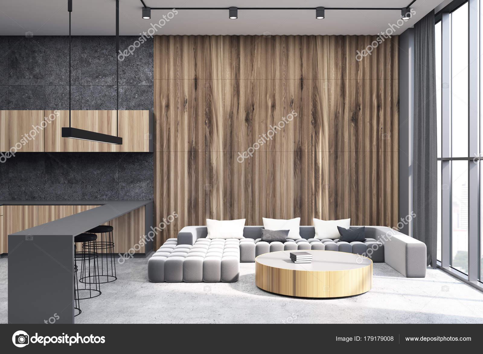 De woonkamer grijs en houten, betonnen vloer — Stockfoto ...