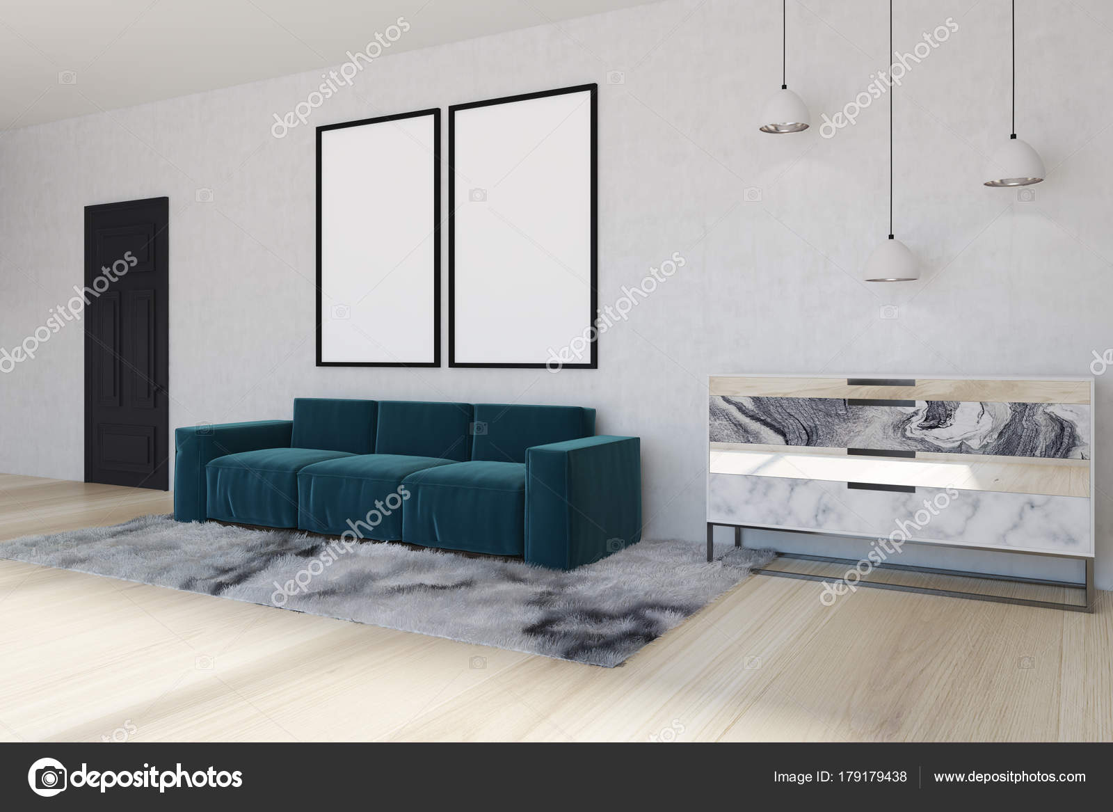Mirror living room corner, blue sofa, side — Stock Photo ...