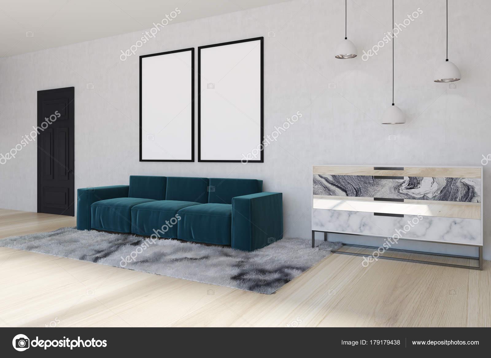 Spiegel woonkamer, blauwe hoekbank, kant — Stockfoto ...