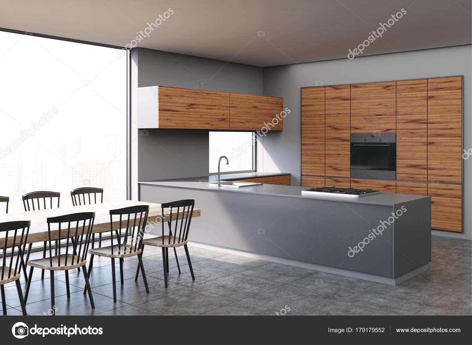 Cocina madera gris y oscuro foto de stock for Cocina de madera gris oscuro