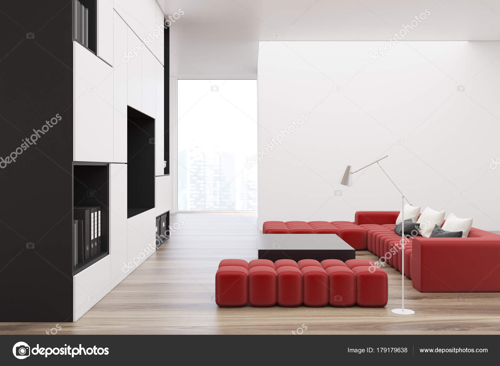 Pictures : red white and black living room | White and black ...