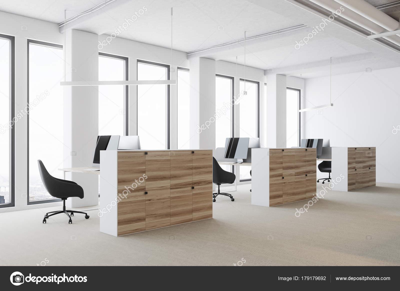 Coin de bureau open space cabines en bois de blanc u2014 photographie