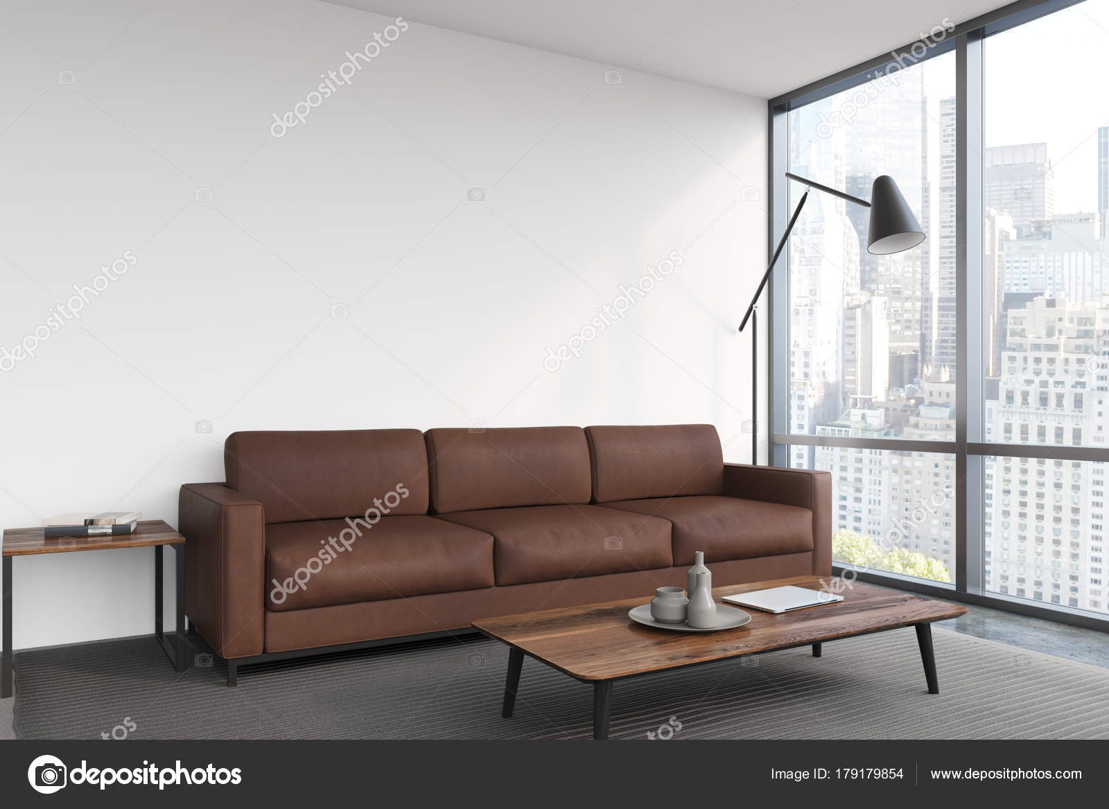 Woonkamer Bruin Wit : Wit woonkamer bruin sofa poster u stockfoto denisismagilov