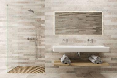 White wooden bathroom, double sink, shower