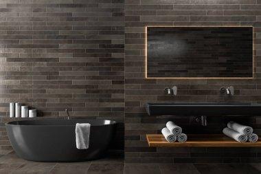 Black wooden bathroom, double sink, tub