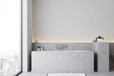White bathroom gray tub close up