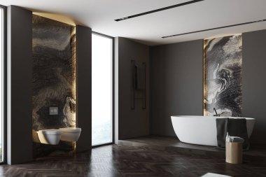 Black and marble bathroom corner