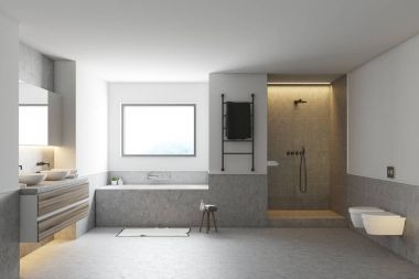 White bathroom interior, gray tub, sinks