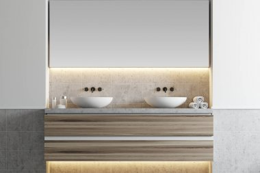 White bathroom, double sink
