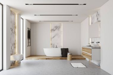 White and marble bathroom