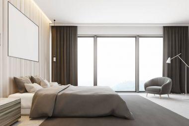 Wooden bedroom interior, poster side