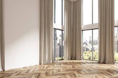 Empty white room corner, brown curtains