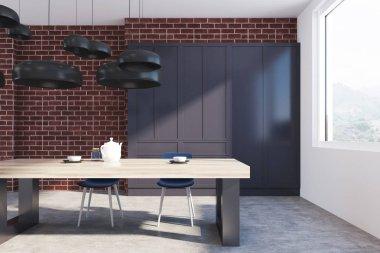 Brick kitchen interior close up